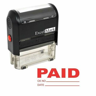 NEW ExcelMark PAID With Check and Date Self Inking Rubber Stamp A1539 | Red Ink