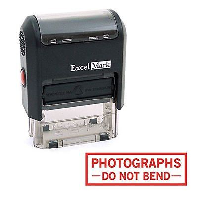 NEW ExcelMark PHOTOGRAPHS DO NOT BEND Self Inking Rubber Stamp A1539 | Red Ink