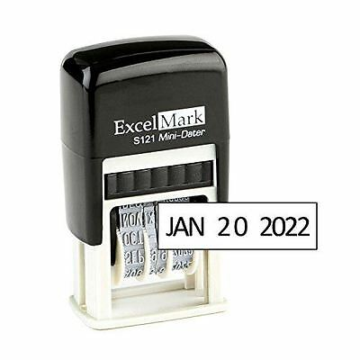 "NEW ExcelMark Self Inking Line Date Stamp S121 | Black Ink 1/8"" x 3/4"""