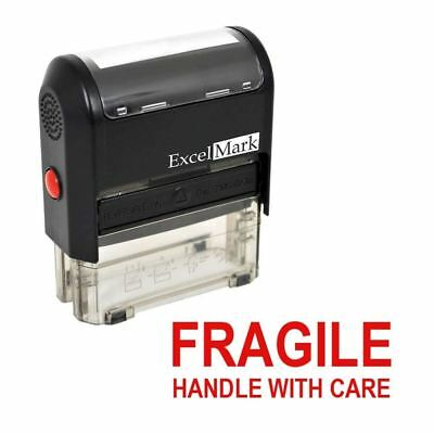 NEW ExcelMark FRAGILE HANDLE WITH CARE Self Inking Rubber Stamp A1539 | Red Ink