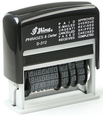 Shiny Self Inking Rubber Date Stamp S-312 | Phrase Dater - Red Ink