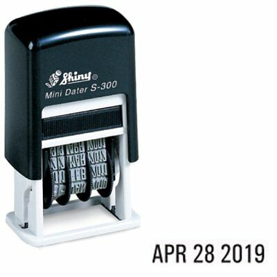 Shiny Self Inking Rubber Date Stamp S-300 | Mini Line Dater Black Ink