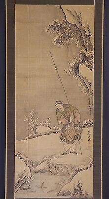 JAPANESE HANGING SCROLL ART Painting  Asian antique  #E6061