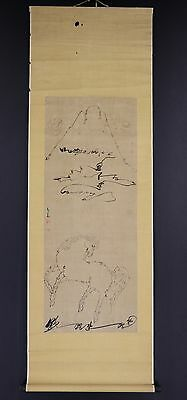 JAPANESE HANGING SCROLL ART Painting  Asian antique  #E6057