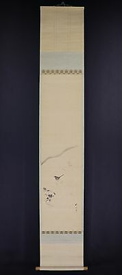 """JAPANESE HANGING SCROLL ART Painting """"Nightingale"""" Asian antique  #E6095"""