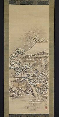 JAPANESE HANGING SCROLL ART Painting  Asian antique  #E6101