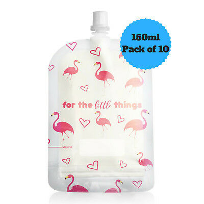 Sinchies 150ml Flamingos Reusable Food Pouches Top Spout BPA Free Pack of 10