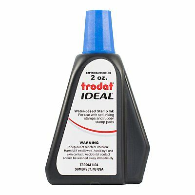 Trodat Ideal Self Inking Rubber Stamp Premium Replacement Ink 2 oz   Blue Ink