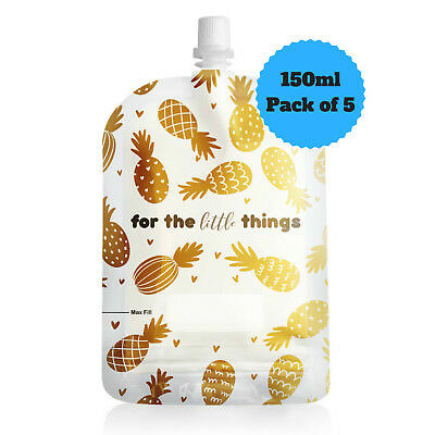 Sinchies 150ml Gold Pineapples Reusable Food Pouches Top Spout BPA Free Pk of 5