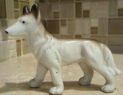 Porcelain German Shepherd or Husky Dog Figurine Made in Japan