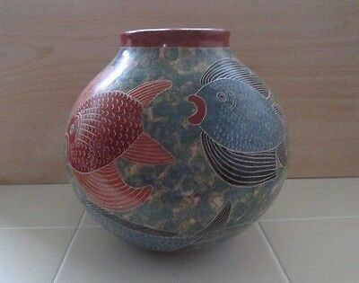"Large Pottery Vase Hand crafted Painted Ecuador Marine Fish Art 8"" x 8"" Colorful"