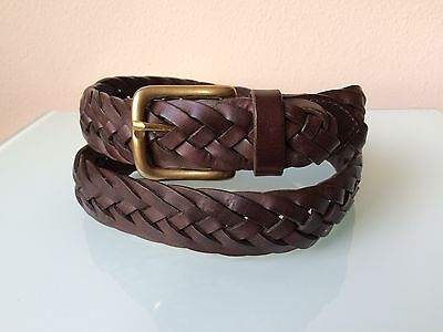 Men's Brown Leather Braided Belt Made in England size 34