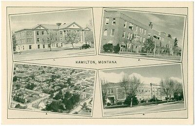 1950s Hamilton Montana Multiview Hospital US Bldg Aerial View City High School