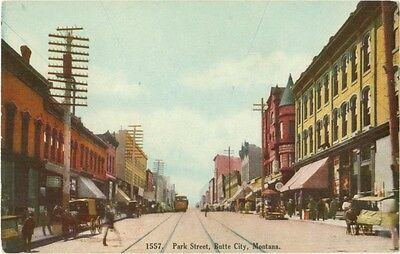 c1910 Butte City Montana Street Scene Park Street w Trolley Tracks and Trolley