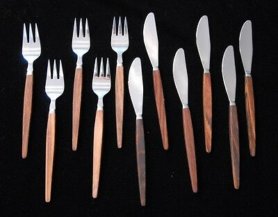 Rostfritt Stal Sweden Mid-Century Modern Knives and Forks - 11 Pieces