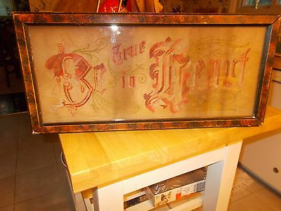 Late 1800S Early 1900S Paper Punched Sampler Be True In Heart In Original Frame