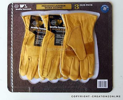 3 Pairs Riggers Gloves Wells Lamont MenLeather Work Safety Glove Heavy Duty MED