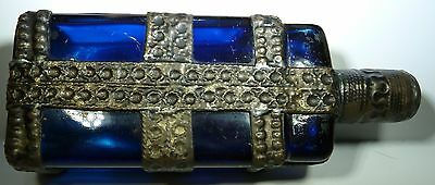 Antique Glass Bottle Dark Cobalt Blue w/ 3 Horizontal & 1 Vertical Metal Bands