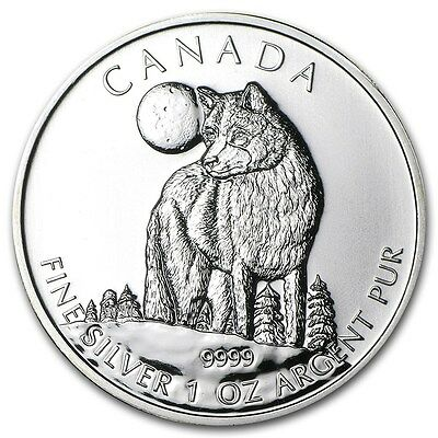 2011 1 oz Canadian Silver Timber Wolf Wildlife Series Coin (BU) Light Spotting