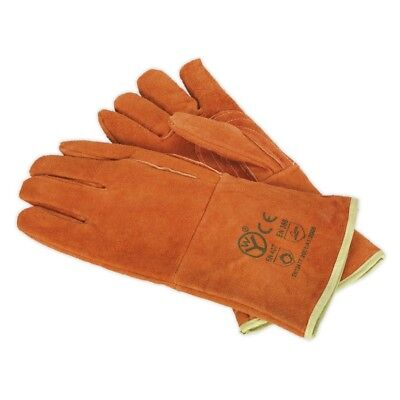 Sealey SSP151 Heavy-Duty Lined Leather Welding Gauntlets - Pair