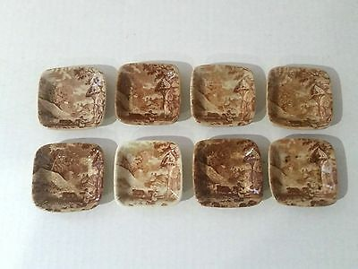 Antique Butter Pats Lot Of 8  Brown Transferware Butter Pats  Old Hall Farm