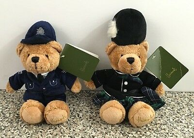 Harrods PIPER Bean Teddy Bear Plush Animal Set Of 2 Policeman Bear Bobby