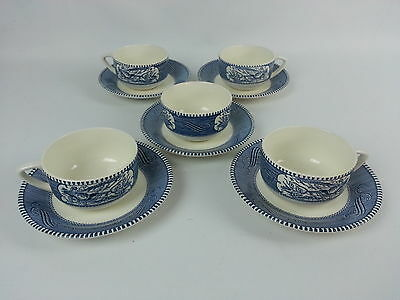10Pc Currier & Ives Blue Royal China Steamboat Cup & Saucer Set