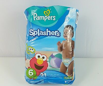 Pampers Splashers Swim Diapers Pants Sz 6  Disposable 21 cnt 37+lbs Sesame st