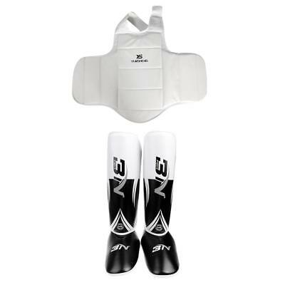 Shin Instep Pads MMA Leg Foot Guards + Muay Thai Kick Boxing Chest Protector