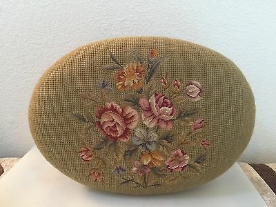 Antique Original Beautiful Victorian Floral Needlepoint Foot Stool
