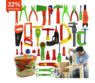 32Pc Toy Repair Tool Play Set Hammer Screwdriver Bolt Kid Children Learning Best