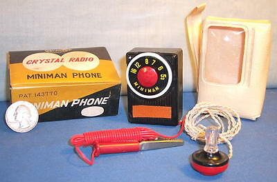 1 Vintage Original MINIATURE VEST POCKET CRYSTAL Miniman Phone Radio in Box m703