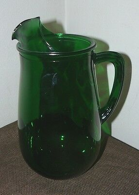 Vintage Anchor Hocking Pitcher with Ice Lip Forest Green Glass 4 1/2 Cups EUC