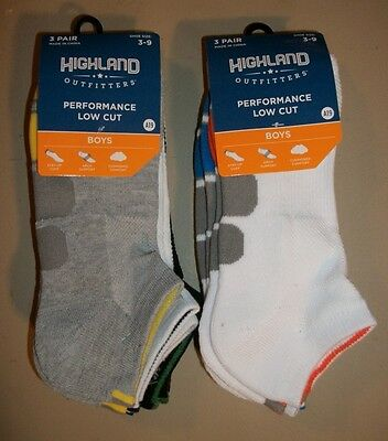 New w/tags: Boys' size 3-9, performance low-cut socks, assorted colors, 6 pairs