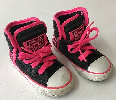 Converse Girls Fluro Pink Hi Top Sneakers Shoes Size 7