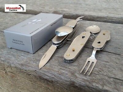 Silver Camping Eating Fork Tool, Spoon & Pocket Knife & Case w/ Bottle Opener