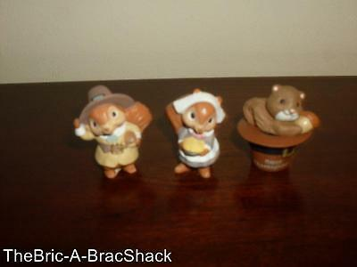 LOT/3 Resin Type Thanksgiving Holiday Miniature SQUIRREL Decorative Figurines