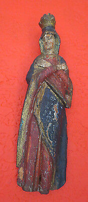 Antique Carved Wood Polychrome Virgin Mary Madonna Saint Wall Plaque