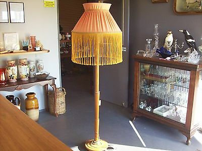 Period Floor Lamp Timber Stand & Shade