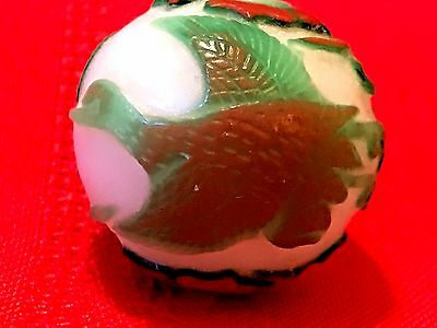 "Birds In Flight 3""/76.2Mm Antique Hand Carved Chinese Imperial Peking Glass Bead"