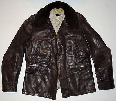 Vintage 40s Montgomery Ward Horsehide Jacket 44 Brown Leather Mouton Collar NICE