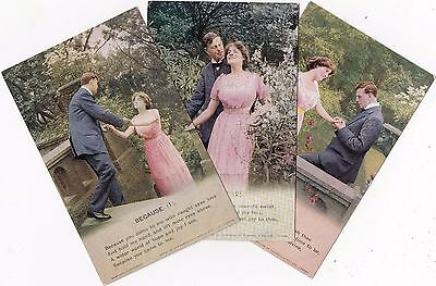 """WWI Set of postcards """"BECAUSE"""" by Bamforth & Co. Ltd"""