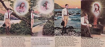 """WWI postcards """"COME BACK TO ERIN"""" Set of four postcards."""