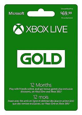 Microsoft Xbox LIVE 12 Month Gold Membership Physical Card Months Edition