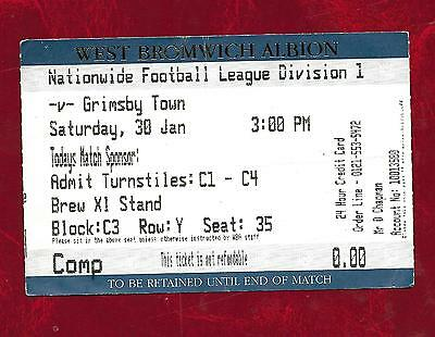 undated (but 1990s) West Bromwich Albion v Grimsby Town ticket stub
