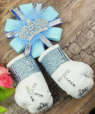 sparkly boxing gloves pram charm in baby blue bling rhinestones