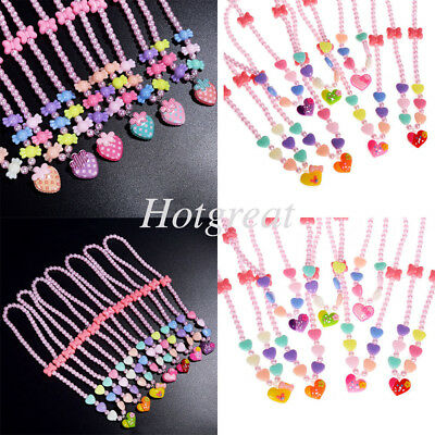 Children Baby Girls Strawberry Pendant Necklace Colorful Beads Toddlers Jewelrys