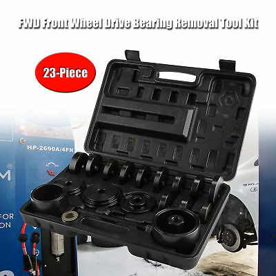 23 PCs Front Wheel Drive Bearing Removal Adapter Puller Pulley Tool Kit W/Case.