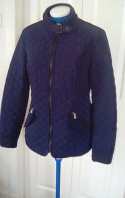 Ladies Next lightweight padded jacket, fitted, size 10-12 UK. Navy