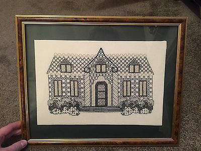 Vintage Framed Needlepoint, Cross Stitch Completed Picture Of House